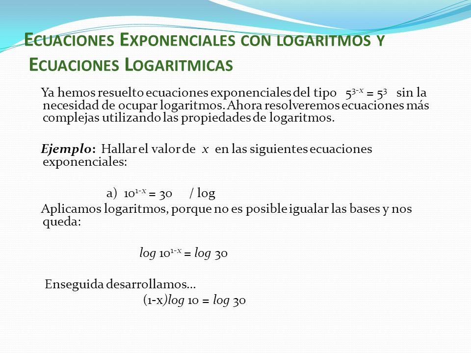 log 10 – x log 10 = log (10* 3) - x log 10 = log 10 + log 3 – log 10 despejamos x - x = pero log 10 =1, por lo tanto - x = log 3 / *-1 x = - log 3 o x= log