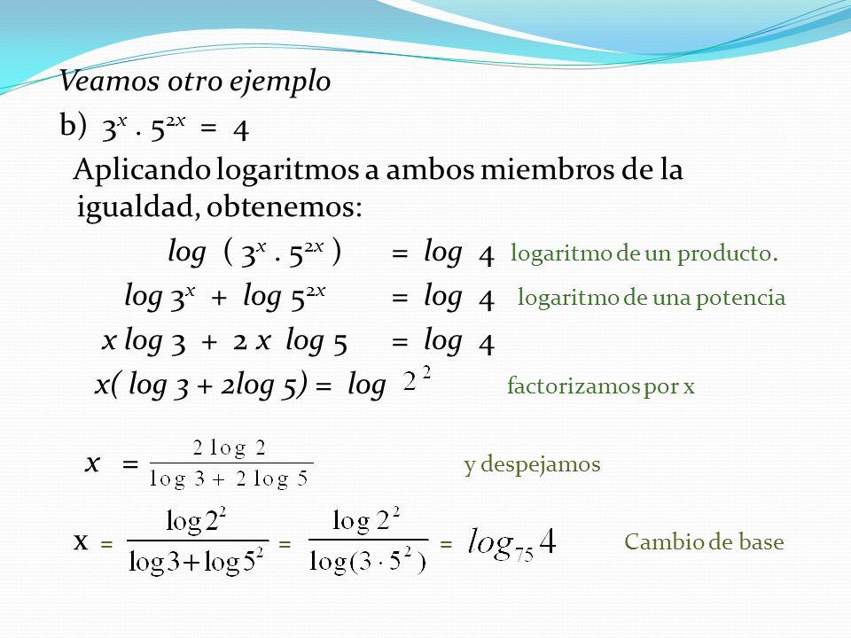 Analicemos este caso: c) 3 2x - 4.