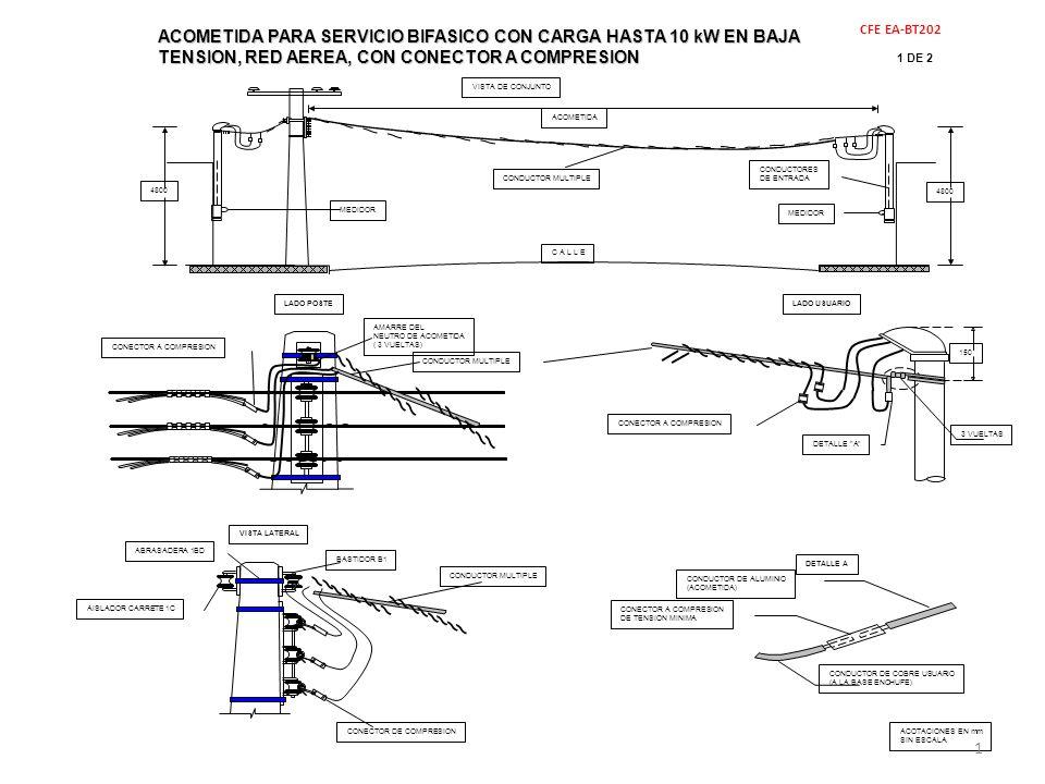 2 DE 2 MATERIALES CFE EA-BT202 ACOMETIDAPARA SERVICIO BIFASICO CON CARGA HASTA 10 kW EN BAJA TENSION, RED AEREA, CON CONECTOR A COMPRESION ACOMETIDA PARA SERVICIO BIFASICO CON CARGA HASTA 10 kW EN BAJA TENSION, RED AEREA, CON CONECTOR A COMPRESION NOTAS: a.- LA ACOMETIDA DE LADO POSTE, SE DEBE REMATAR EN EL AISLADOR 1C DEL BASTIDOR B1, INSTALADO EN LA PARTE SUPERIOR DE LA RED.