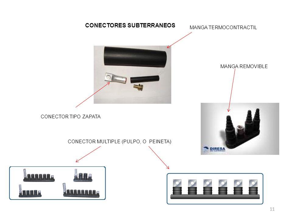 11 MANGA TERMOCONTRACTIL CONECTOR TIPO ZAPATA CONECTOR MULTIPLE (PULPO, O PEINETA) MANGA REMOVIBLE CONECTORES SUBTERRANEOS