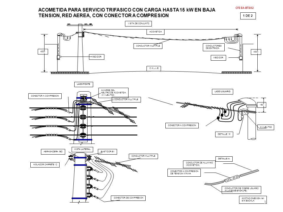 2 DE 2 MATERIALES CFE EA-BT302 ACOMETIDA PARA SERVICIO TRIFASICO CON CARGA HASTA 15 kW EN BAJA TENSION, RED AEREA, CON CONECTOR A COMPRESION NOTAS: a.- LA ACOMETIDA DE LADO POSTE, SE DEBE REMATAR EN EL AISLADOR 1C DEL BASTIDOR B1, INSTALADO EN LA PARTE SUPERIOR DE LA RED.