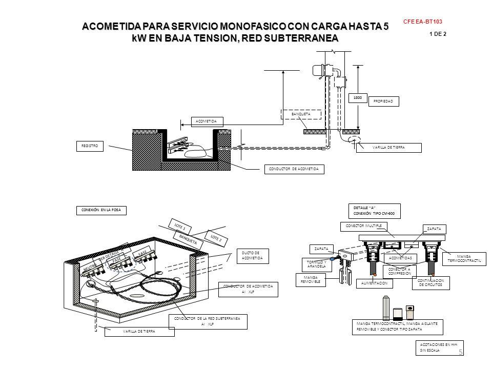 PROPIEDAD 1800 ACOMETIDA REGISTRO CONDUCTOR DE ACOMETIDA BANQUETA VARILLA DE TIERRA CFE EA-BT103 1 DE 2 ACOMETIDA PARA SERVICIO MONOFASICO CON CARGA H
