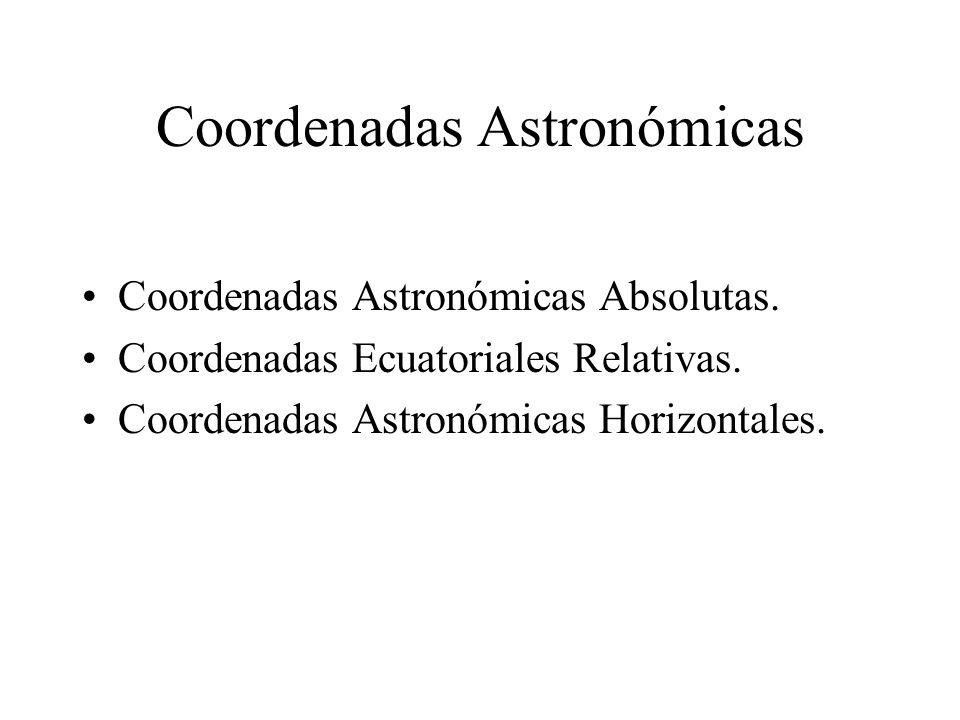 Coordenadas Astronómicas Absolutas Meridiano Celeste del Punto Vernal Meridiano Celeste del Astro Ecuador Celeste Astro Ascensión Recta: Arco de Ecuador Celeste medido desde el Meridiano Celeste del Punto Vernal hasta el Meridiano Celeste del Astro.