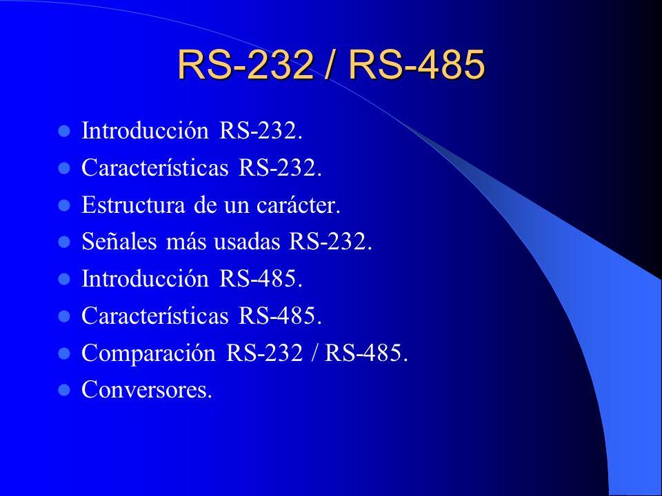 RS-232 / RS-485 Introducción RS-232. Características RS-232. Estructura de un carácter. Señales más usadas RS-232. Introducción RS-485. Característica