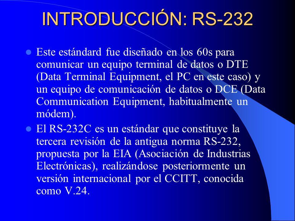 INTRODUCCIÓN: RS-232 Este estándard fue diseñado en los 60s para comunicar un equipo terminal de datos o DTE (Data Terminal Equipment, el PC en este c