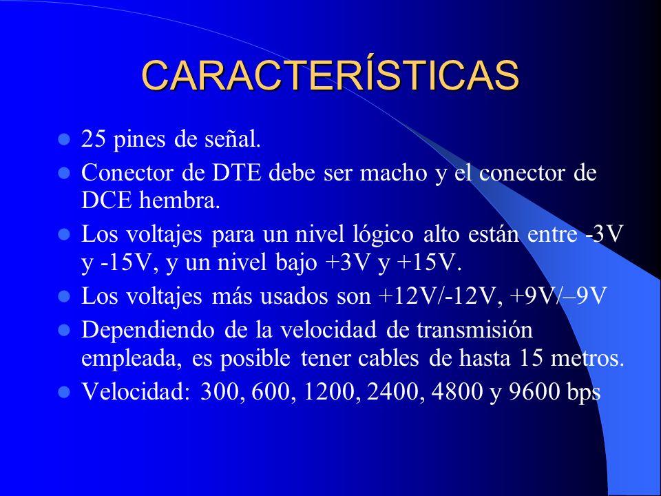 CARACTERÍSTICAS 25 pines de señal. Conector de DTE debe ser macho y el conector de DCE hembra. Los voltajes para un nivel lógico alto están entre -3V