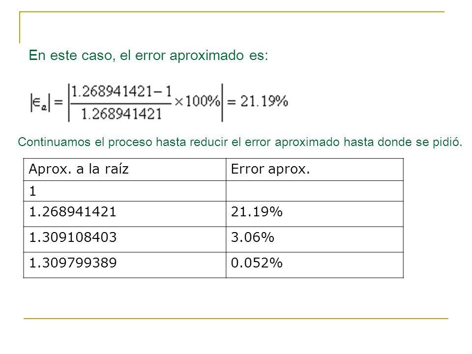 En este caso, el error aproximado es: Continuamos el proceso hasta reducir el error aproximado hasta donde se pidió.