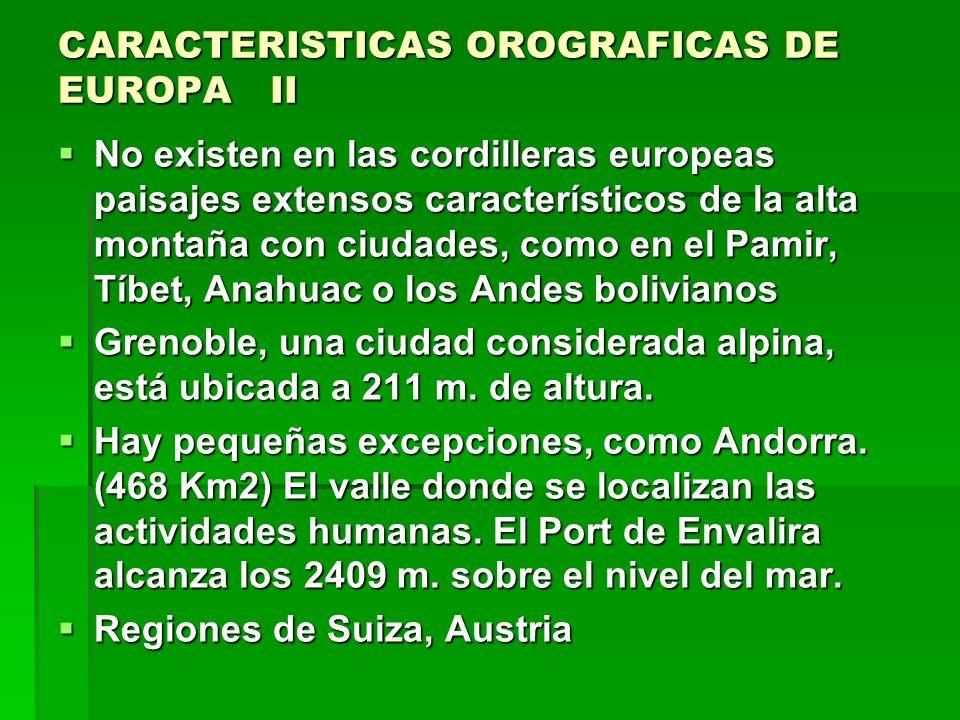 CARACTERISTICAS OROGRAFICAS DE EUROPA.