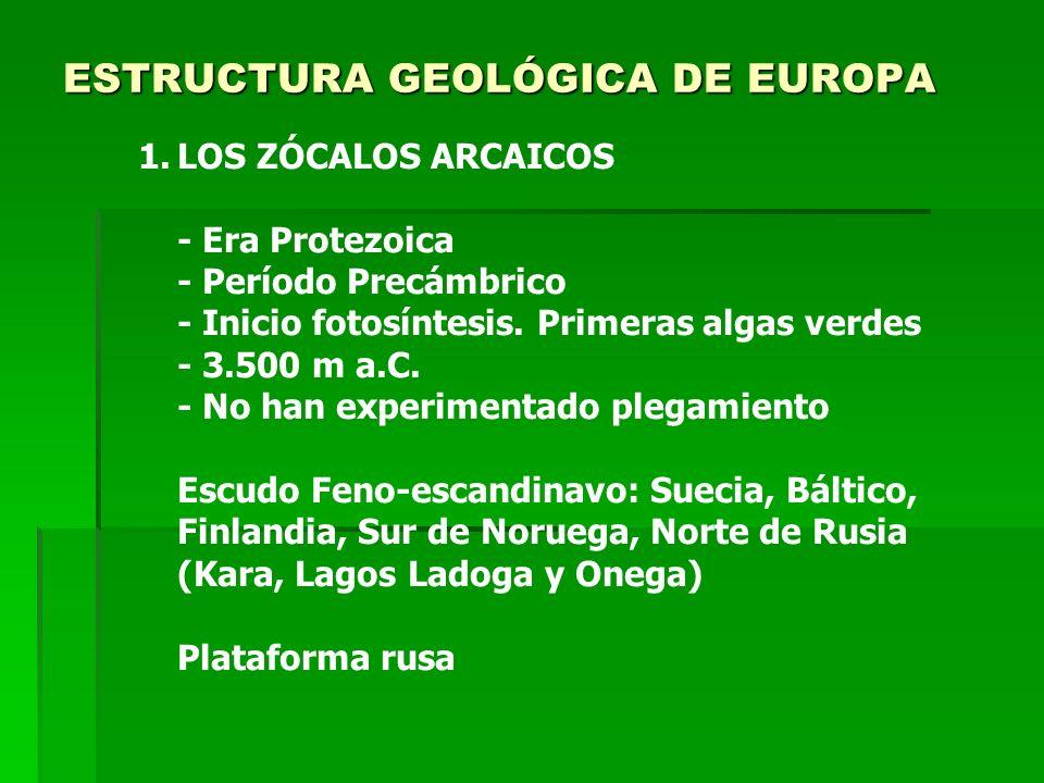 ESTRUCTURA GEOLÓGICA DE EUROPA 1.LOS ZÓCALOS ARCAICOS - Era Protezoica - Período Precámbrico - Inicio fotosíntesis. Primeras algas verdes - 3.500 m a.