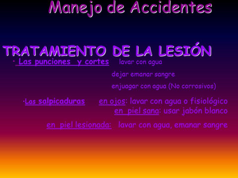 EVALUACION EVALUACION DE LA LESION SUPERFICIE Y PROFUNDIDAD//SUPERFICIE Y PROFUNDIDAD// ANFRACTUOSA/// LINEAL//ANFRACTUOSA/// LINEAL// LIMPIA///SUCIA//LIMPIA///SUCIA// INOCULACIÓN POSIBLE /// MATERIAL INOCULADO//INOCULACIÓN POSIBLE /// MATERIAL INOCULADO// PRESENCIA DE BARRERAS ///SUPERFICIE EXPUESTA//PRESENCIA DE BARRERAS ///SUPERFICIE EXPUESTA// Manejo de Accidentes