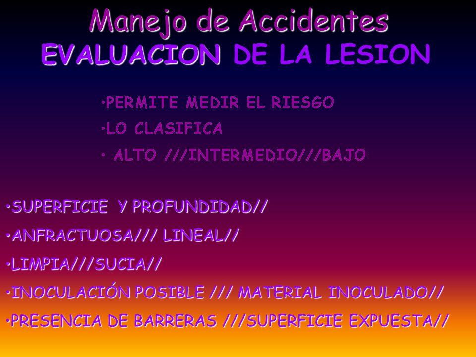 EVALUACION DEL ACCIDENTADO ANTECEDENTES PERSONALES VACUNACION PREVIA/// TETANOS//HEPATITIS B MARCACIÓN SEROLÓGICA INICIAL//VIH//VHB//VHC GARANTIZAR PRIVACIDAD SOBRE LOS RESULTADOS EN ACCIDENTE PUNZO-CORTANTE//HERIDA SUCIA TETANOS/// SI HAY CONTACTO CON MATERIAL BIOLÓGICO TETANOS/// VHB ///VHC/// EN SALPICADURAS//DERRAMAMIENTO VHB///VHC///