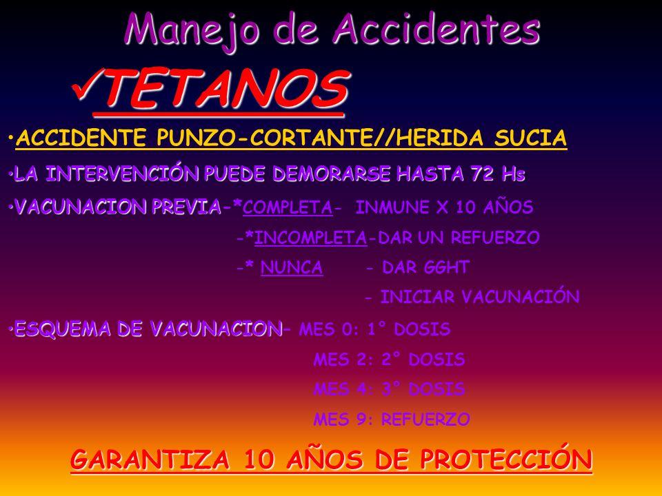 Manejo de Accidentes TETANOS TETANOS ACCIDENTE PUNZO-CORTANTE//HERIDA SUCIA LA INTERVENCIÓN PUEDE DEMORARSE HASTA 72 HsLA INTERVENCIÓN PUEDE DEMORARSE