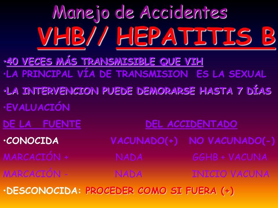 Manejo de Accidentes VHB// HEPATITIS B 40 VECES MÁS TRANSMISIBLE QUE VIH40 VECES MÁS TRANSMISIBLE QUE VIH LA PRINCIPAL VÍA DE TRANSMISION ES LA SEXUAL