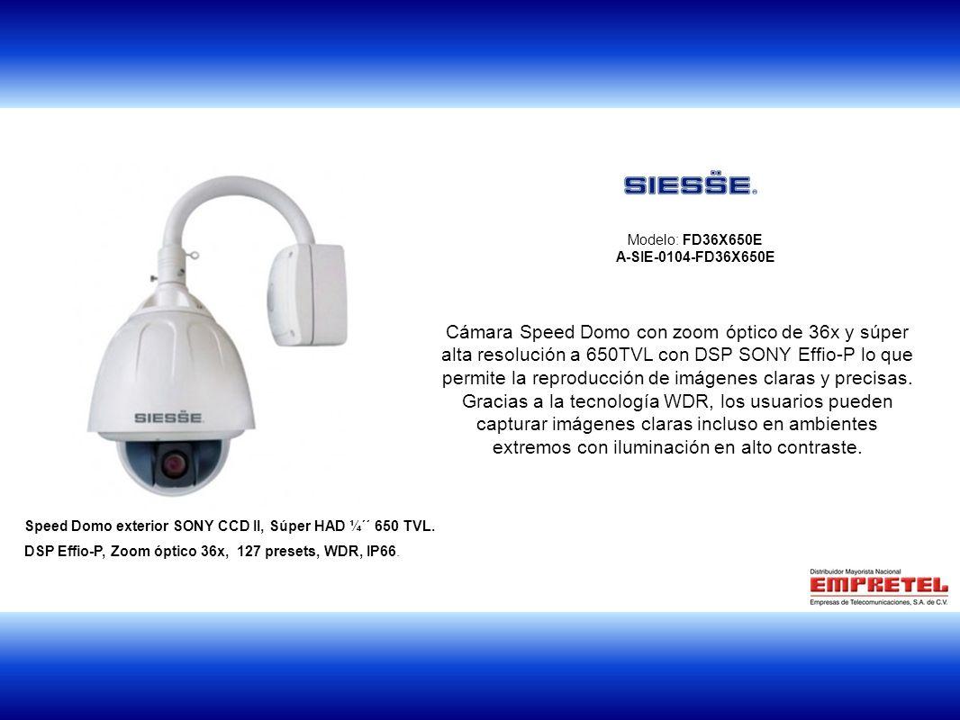 1 Modelo: FD36X650E A-SIE-0104-FD36X650E Cámara Speed Domo con zoom óptico de 36x y súper alta resolución a 650TVL con DSP SONY Effio-P lo que permite la reproducción de imágenes claras y precisas.