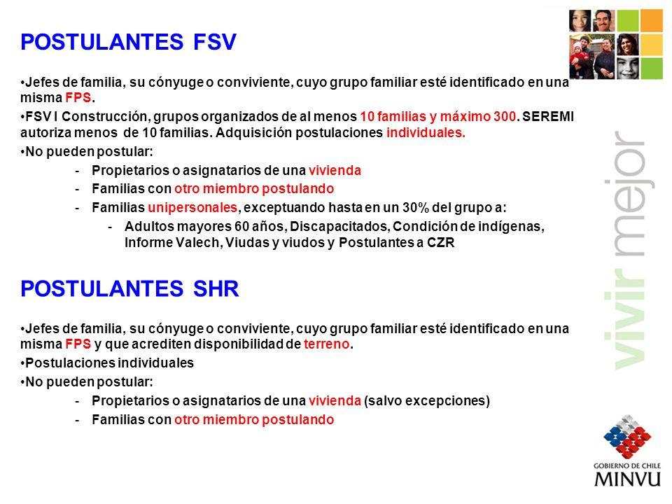 FONDO SOLIDARIO DE VIVIENDA SUBSIDIO HABITACIONAL RURAL FSV IFSV II ConstrucciónAdquisición 330 a 470 UF280 a 420 UF*280 a 420 UF SUBSIDIOS FONDO SOLIDARIO DE VIVIENDA SUBSIDIO HABITACIONAL RURAL FSV IFSV II ConstrucciónAdquisición 10 UF 30 UF10 UF AHORROS * FSV I Adquisición aumenta 2 UF por cada 0,5m2 que supere 37,5m2 hasta 50 UF.