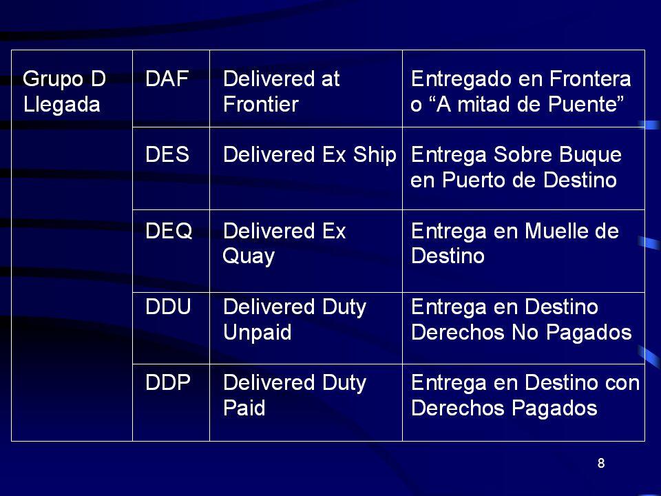 29 CPT Porte pagado hasta ( indicando el lugar de destino convenido) Tipo de Transporte : Todo tipo de transporte.