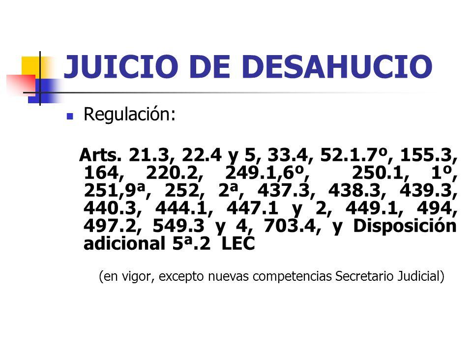 JUICIO DE DESAHUCIO Regulación: Arts. 21.3, 22.4 y 5, 33.4, 52.1.7º, 155.3, 164, 220.2, 249.1,6º, 250.1, 1º, 251,9ª, 252, 2ª, 437.3, 438.3, 439.3, 440