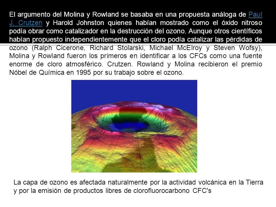 Mario MolinaMario Molina y Frank Sherwood Roland fueron los primeros en señalar a los CFCs como los responsables de la disminución del ozono que se había observado en 1974.
