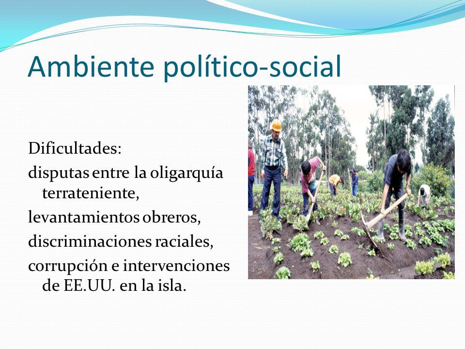 Ambiente político-social Dificultades: disputas entre la oligarquía terrateniente, levantamientos obreros, discriminaciones raciales, corrupción e int