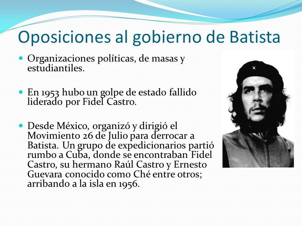 Oposiciones al gobierno de Batista Organizaciones políticas, de masas y estudiantiles. En 1953 hubo un golpe de estado fallido liderado por Fidel Cast