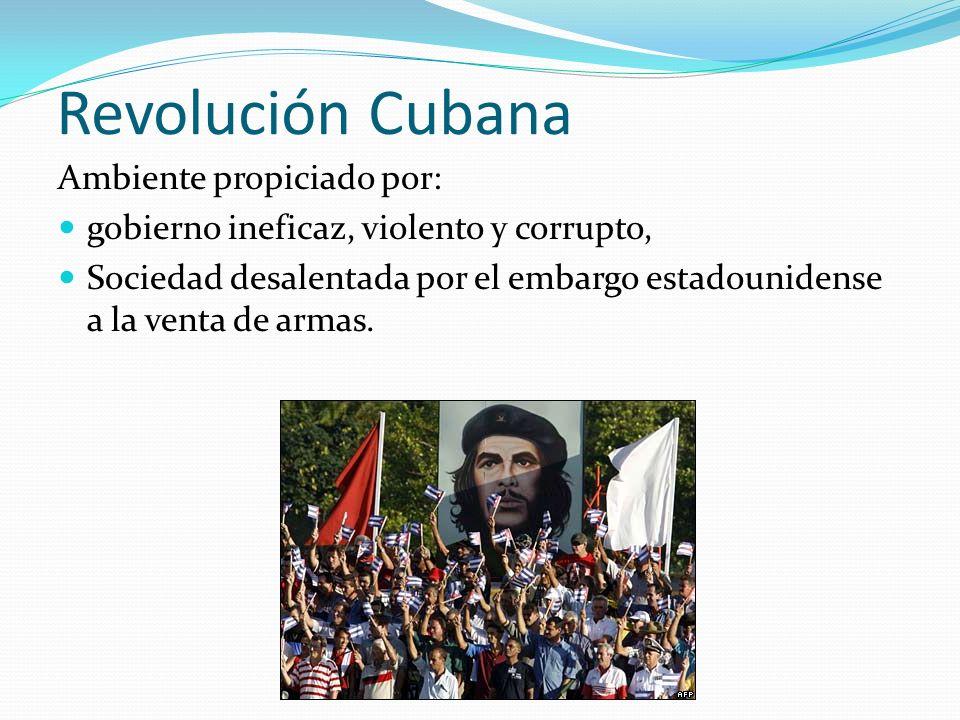 Revolución Cubana Ambiente propiciado por: gobierno ineficaz, violento y corrupto, Sociedad desalentada por el embargo estadounidense a la venta de ar