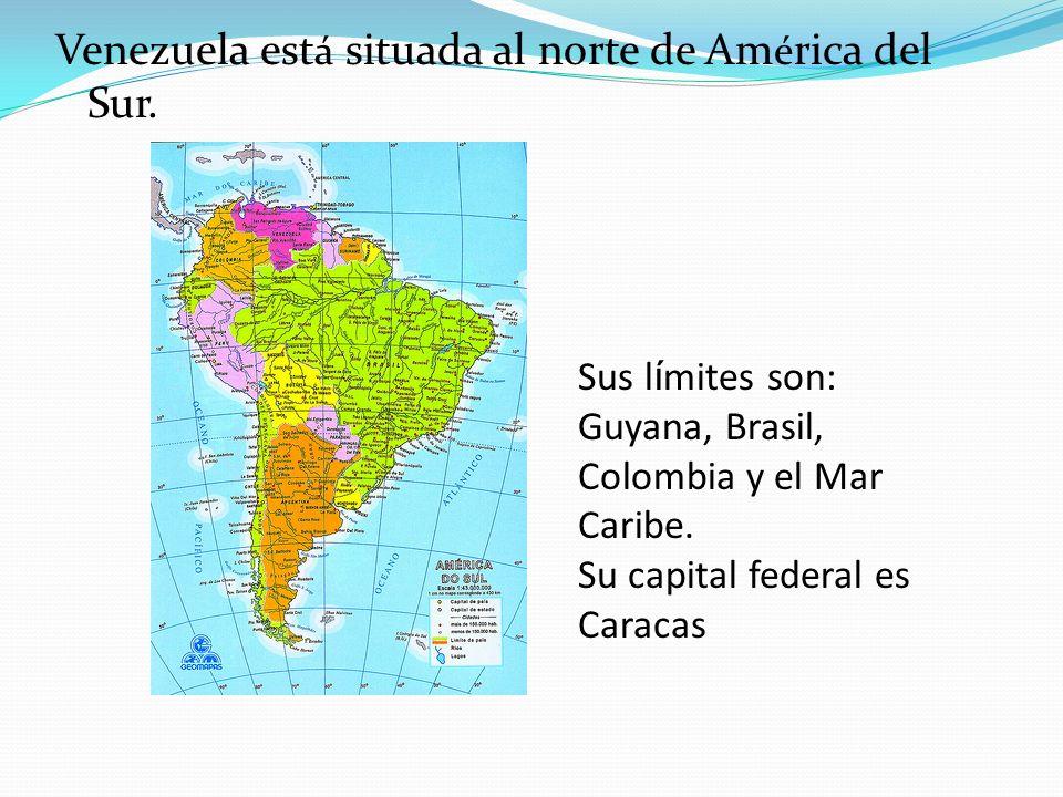 Venezuela est á situada al norte de Am é rica del Sur. Sus l í mites son: Guyana, Brasil, Colombia y el Mar Caribe. Su capital federal es Caracas