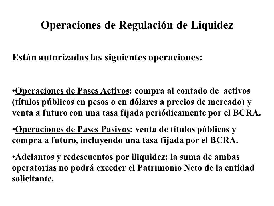 Operaciones de Regulación de Liquidez Están autorizadas las siguientes operaciones: Operaciones de Pases Activos: compra al contado de activos (títulos públicos en pesos o en dólares a precios de mercado) y venta a futuro con una tasa fijada periódicamente por el BCRA.