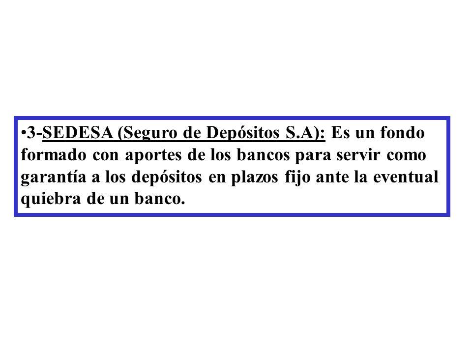 3-SEDESA (Seguro de Depósitos S.A): Es un fondo formado con aportes de los bancos para servir como garantía a los depósitos en plazos fijo ante la eventual quiebra de un banco.