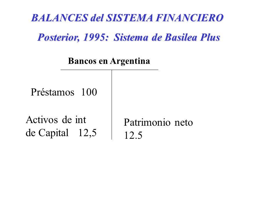 BALANCES del SISTEMA FINANCIERO Posterior, 1995: Sistema de Basilea Plus Préstamos 100 Activos de int de Capital 12,5 Patrimonio neto 12.5 Bancos en Argentina