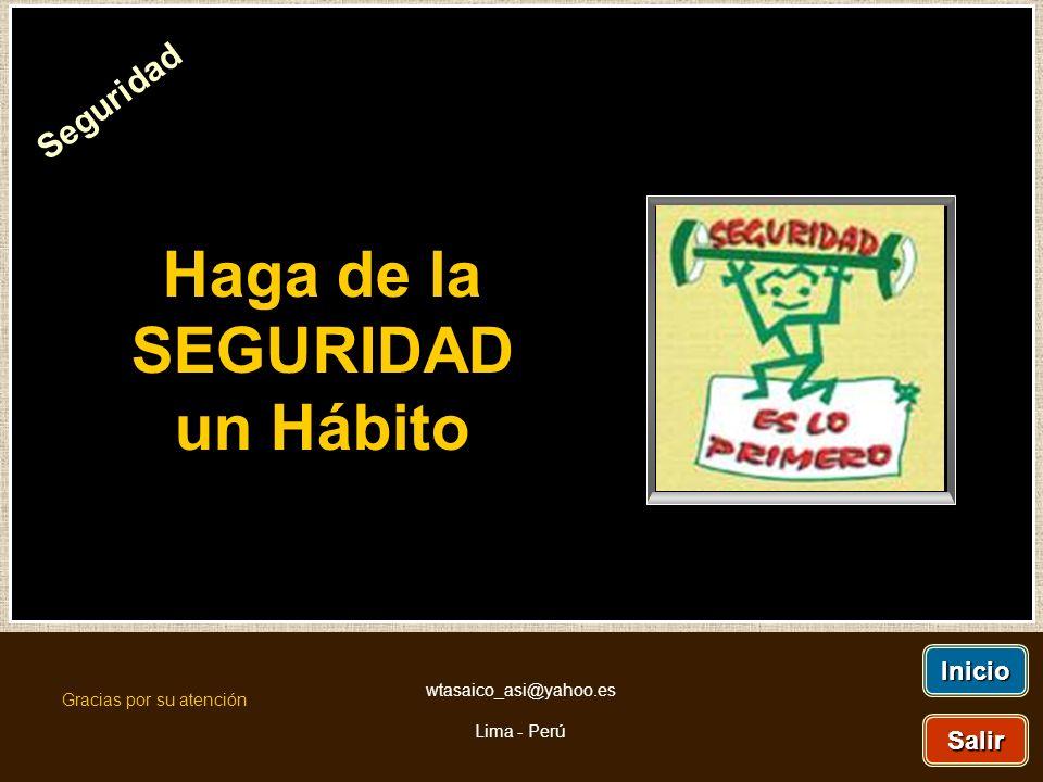 Haga de la SEGURIDAD un Hábito Seguridad Inicio Salir Gracias por su atención wtasaico_asi@yahoo.es Lima - Perú
