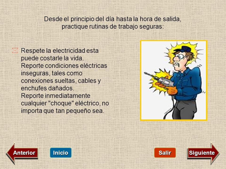 Inicio Salir Siguiente R Respete la electricidad esta puede costarle la vida. Reporte condiciones eléctricas inseguras, tales como conexiones sueltas,