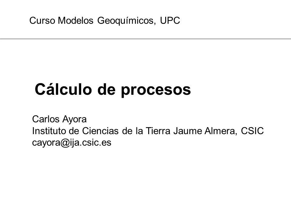 Cálculo de procesos Carlos Ayora Instituto de Ciencias de la Tierra Jaume Almera, CSIC cayora@ija.csic.es Curso Modelos Geoquímicos, UPC