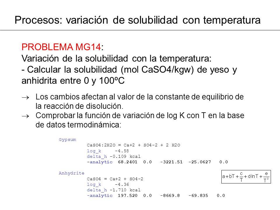 Procesos: variación de solubilidad con temperatura PROBLEMA MG14: Variación de la solubilidad con la temperatura: - Calcular la solubilidad (mol CaSO4