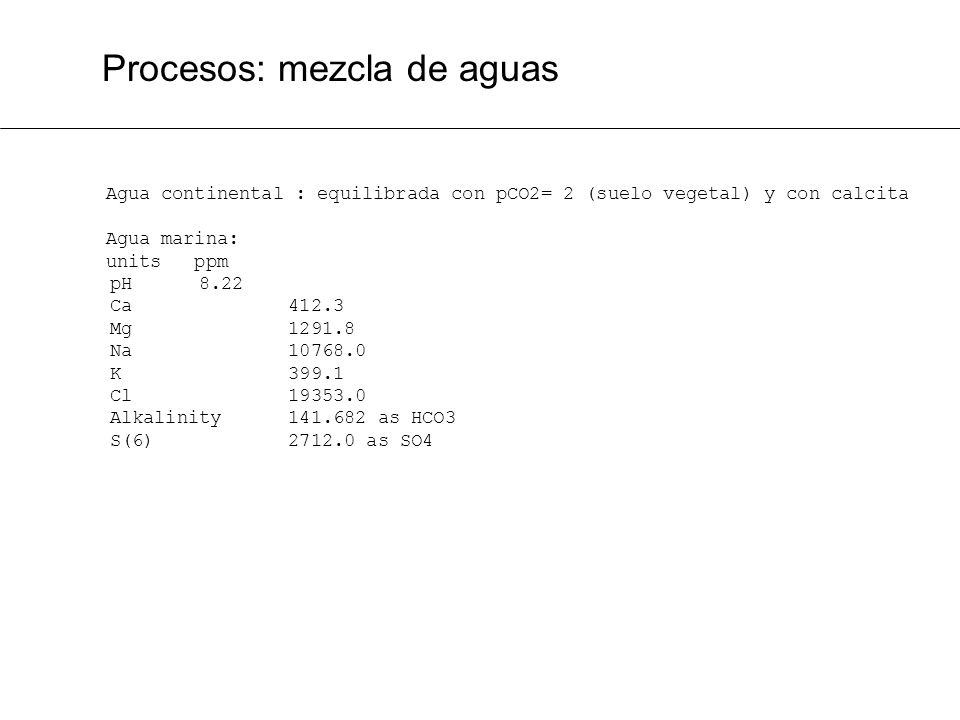 Procesos: mezcla de aguas Agua continental : equilibrada con pCO2= 2 (suelo vegetal) y con calcita Agua marina: units ppm pH 8.22 Ca 412.3 Mg 1291.8 N