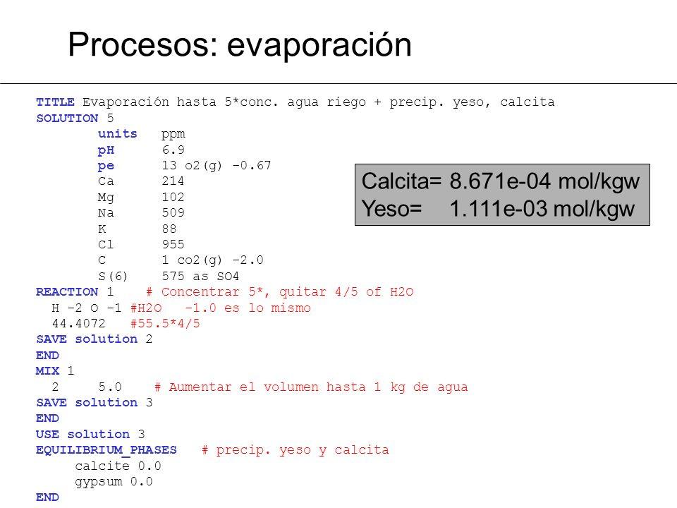 TITLE Evaporación hasta 5*conc. agua riego + precip. yeso, calcita SOLUTION 5 units ppm pH 6.9 pe 13 o2(g) -0.67 Ca 214 Mg 102 Na 509 K 88 Cl 955 C 1