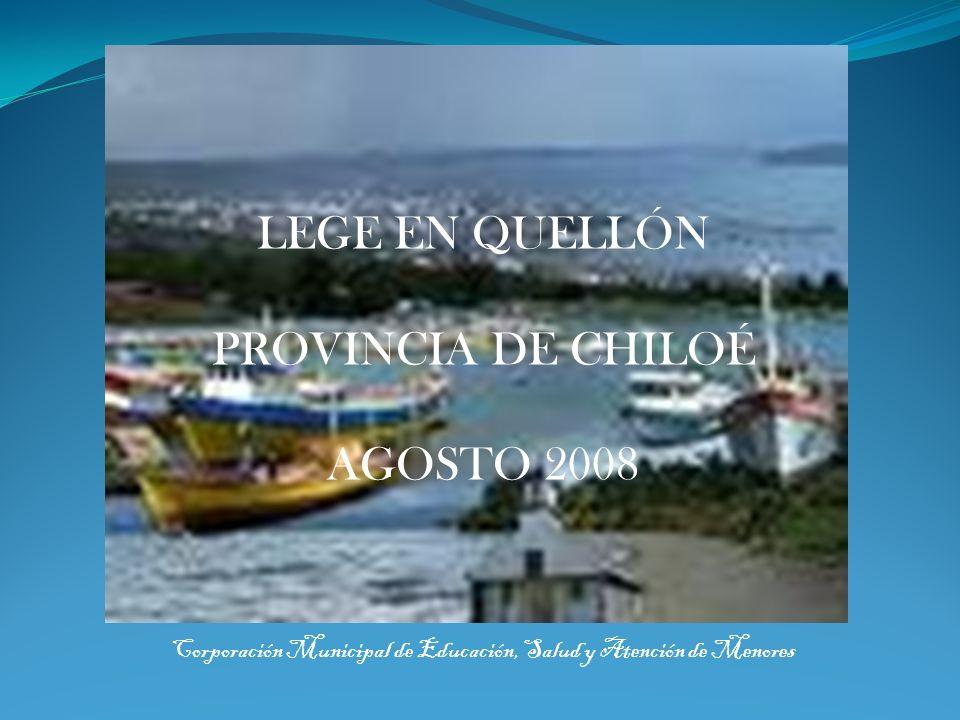 Corporación Municipal de Educación, Salud y Atención de MenoresQuellón - Chiloé Población Comuna de Quellón, según el último censo año 2002: 21.431 habitantes