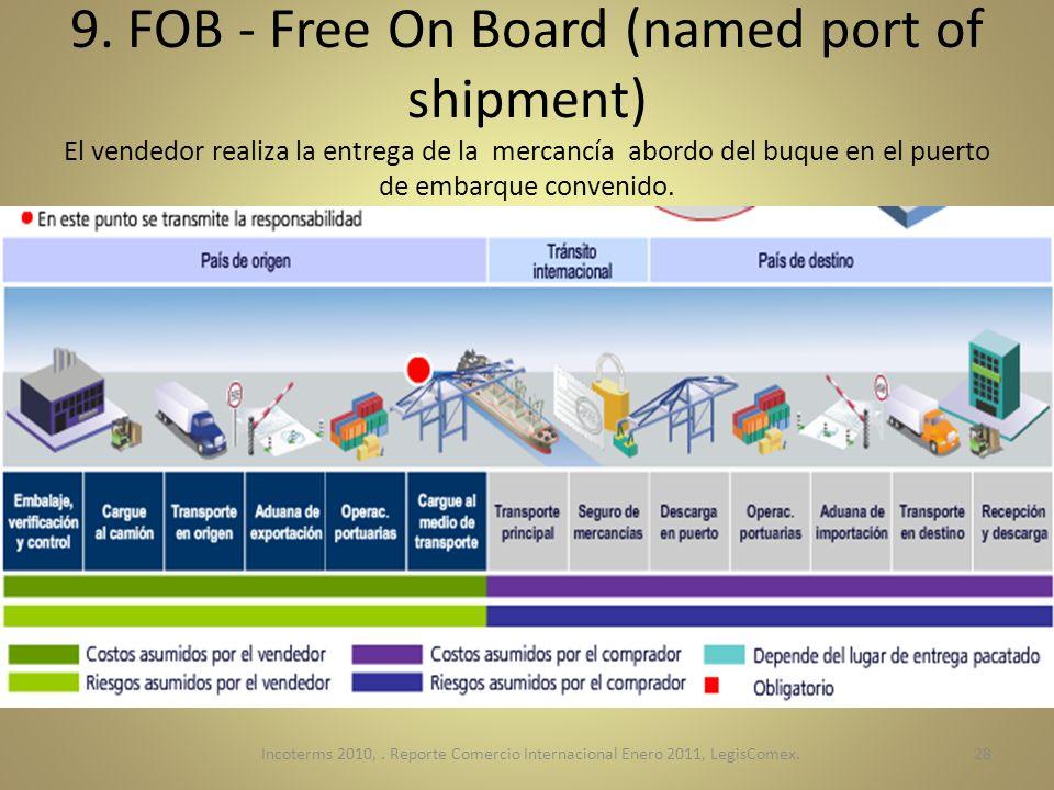 9. FOB - Free On Board (named port of shipment) El vendedor realiza la entrega de la mercancía abordo del buque en el puerto de embarque convenido. In