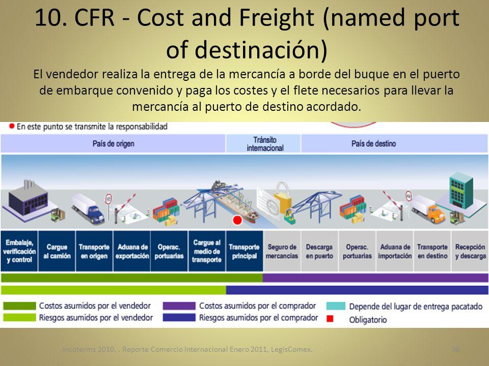 10. CFR - Cost and Freight (named port of destinación) El vendedor realiza la entrega de la mercancía a borde del buque en el puerto de embarque conve