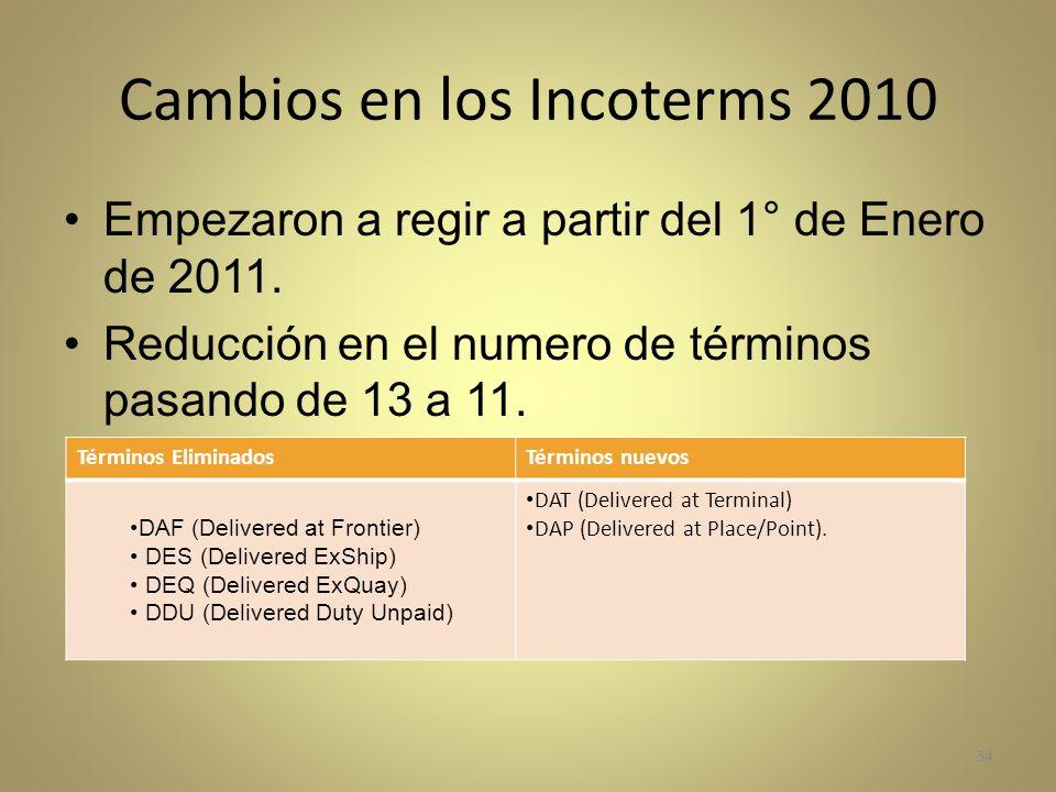 Cambios en los Incoterms 2010 Empezaron a regir a partir del 1° de Enero de 2011. Reducción en el numero de términos pasando de 13 a 11. 34 Términos E