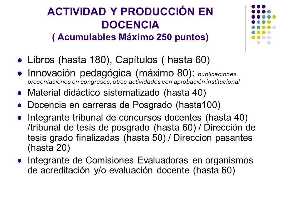 ACTIVIDAD Y PRODUCCIÓN EN DOCENCIA ( Acumulables Máximo 250 puntos) Libros (hasta 180), Capítulos ( hasta 60) Innovación pedagógica (máximo 80): publi