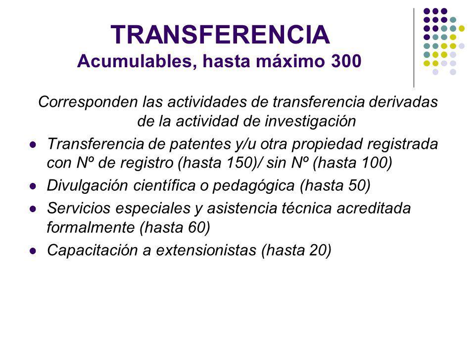 TRANSFERENCIA Acumulables, hasta máximo 300 Corresponden las actividades de transferencia derivadas de la actividad de investigación Transferencia de