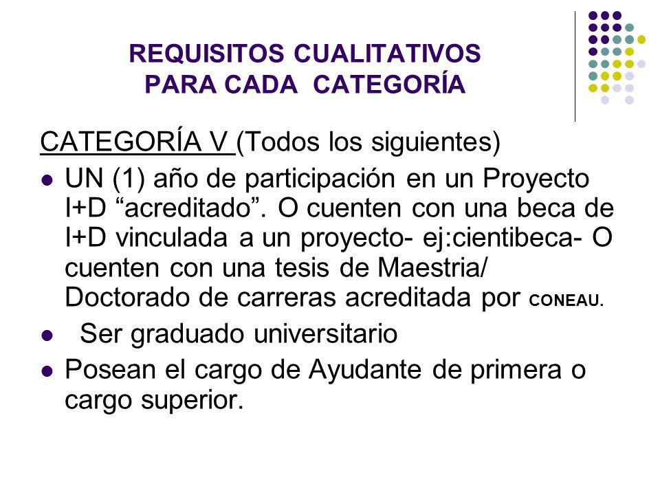REQUISITOS CUALITATIVOS PARA CADA CATEGORÍA CATEGORÍA V (Todos los siguientes) UN (1) año de participación en un Proyecto I+D acreditado. O cuenten co