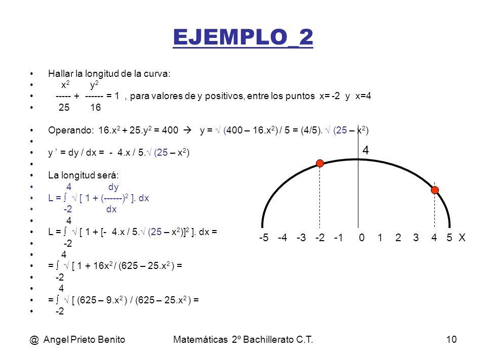 @ Angel Prieto BenitoMatemáticas 2º Bachillerato C.T.10 EJEMPLO_2 Hallar la longitud de la curva: x 2 y 2 ----- + ------ = 1, para valores de y positi
