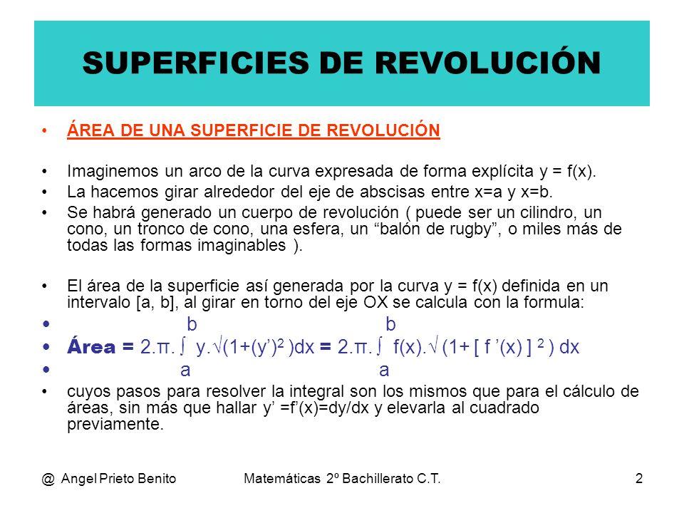 @ Angel Prieto BenitoMatemáticas 2º Bachillerato C.T.2 SUPERFICIES DE REVOLUCIÓN ÁREA DE UNA SUPERFICIE DE REVOLUCIÓN Imaginemos un arco de la curva e