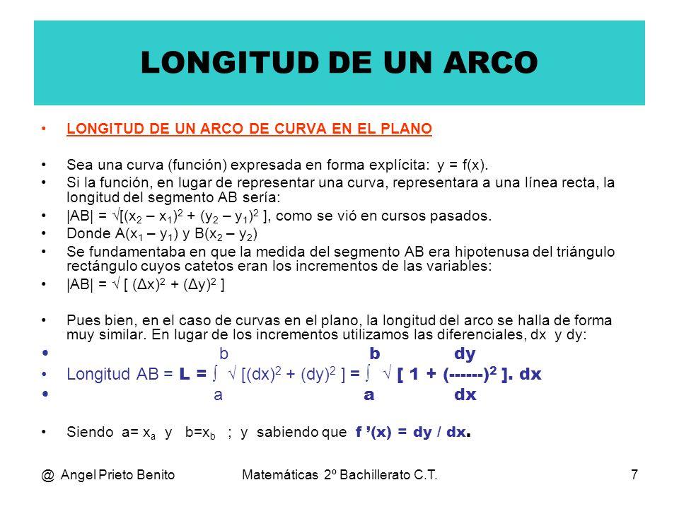 @ Angel Prieto BenitoMatemáticas 2º Bachillerato C.T.8 EJEMPLO_1 Hallar la longitud de la curva: y= x Entre los puntos A(1,1) y B(4,2) La longitud será: 4 dy L = [ 1 + (------) 2 ].