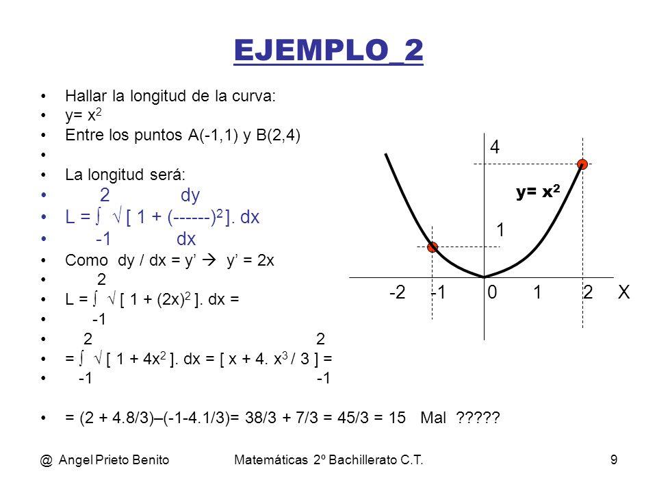 @ Angel Prieto BenitoMatemáticas 2º Bachillerato C.T.10 EJEMPLO_2 Hallar la longitud de la curva: x 2 y 2 ----- + ------ = 1, para valores de y positivos, entre los puntos x= -2 y x=4 25 16 Operando: 16.x 2 + 25.y 2 = 400 y = (400 – 16.x 2 ) / 5 = (4/5).