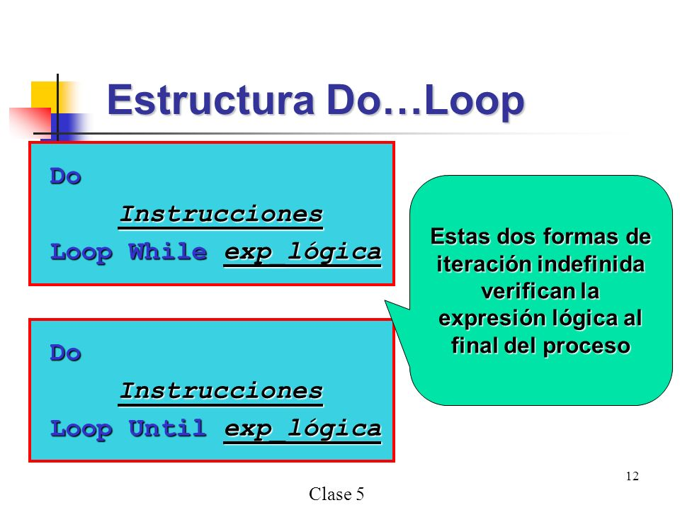 Clase 5 12 DoInstrucciones Loop While exp_lógica Estructura Do…Loop DoInstrucciones Loop Until exp_lógica Estas dos formas de iteración indefinida ver
