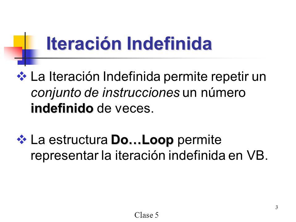 Clase 5 3 indefinido La Iteración Indefinida permite repetir un conjunto de instrucciones un número indefinido de veces. Do…Loop La estructura Do…Loop