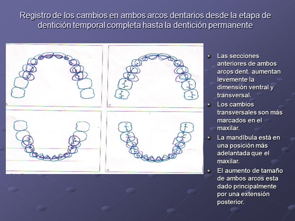 Registro de los cambios en ambos arcos dentarios desde la etapa de dentición temporal completa hasta la dentición permanente Las secciones anteriores