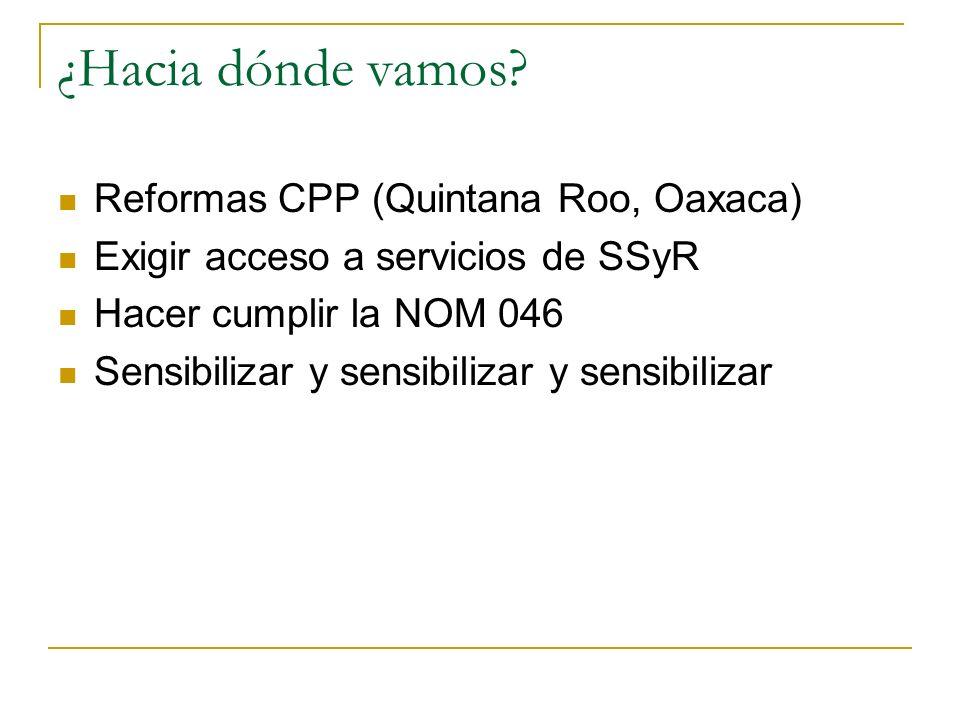 ¿Hacia dónde vamos? Reformas CPP (Quintana Roo, Oaxaca) Exigir acceso a servicios de SSyR Hacer cumplir la NOM 046 Sensibilizar y sensibilizar y sensi